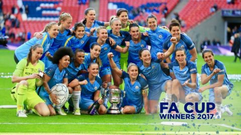 Manchester City Women celebrate their 2017 FA Cup victory. They are one of several elite women's teams which use The Sports Office performance management system for elite soccer.