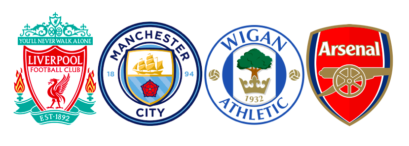 Liverpool FC, Manchester City FC, Wigan Athletic FC and Arsenal FC Badges