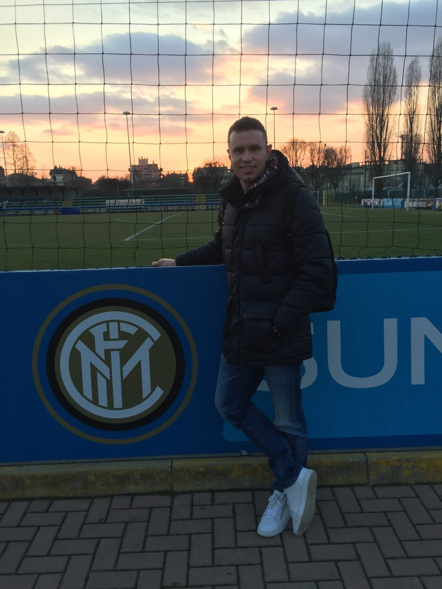 Carl CM at Inter Milan Youth Development centre training on bespoke developments