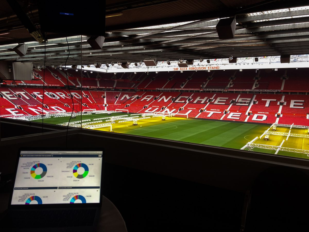 The PMA on a MacBook at Old Trafford Stadium