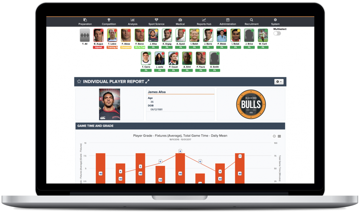 The Sports Office Report Engine Player Performance Report on a MacBook