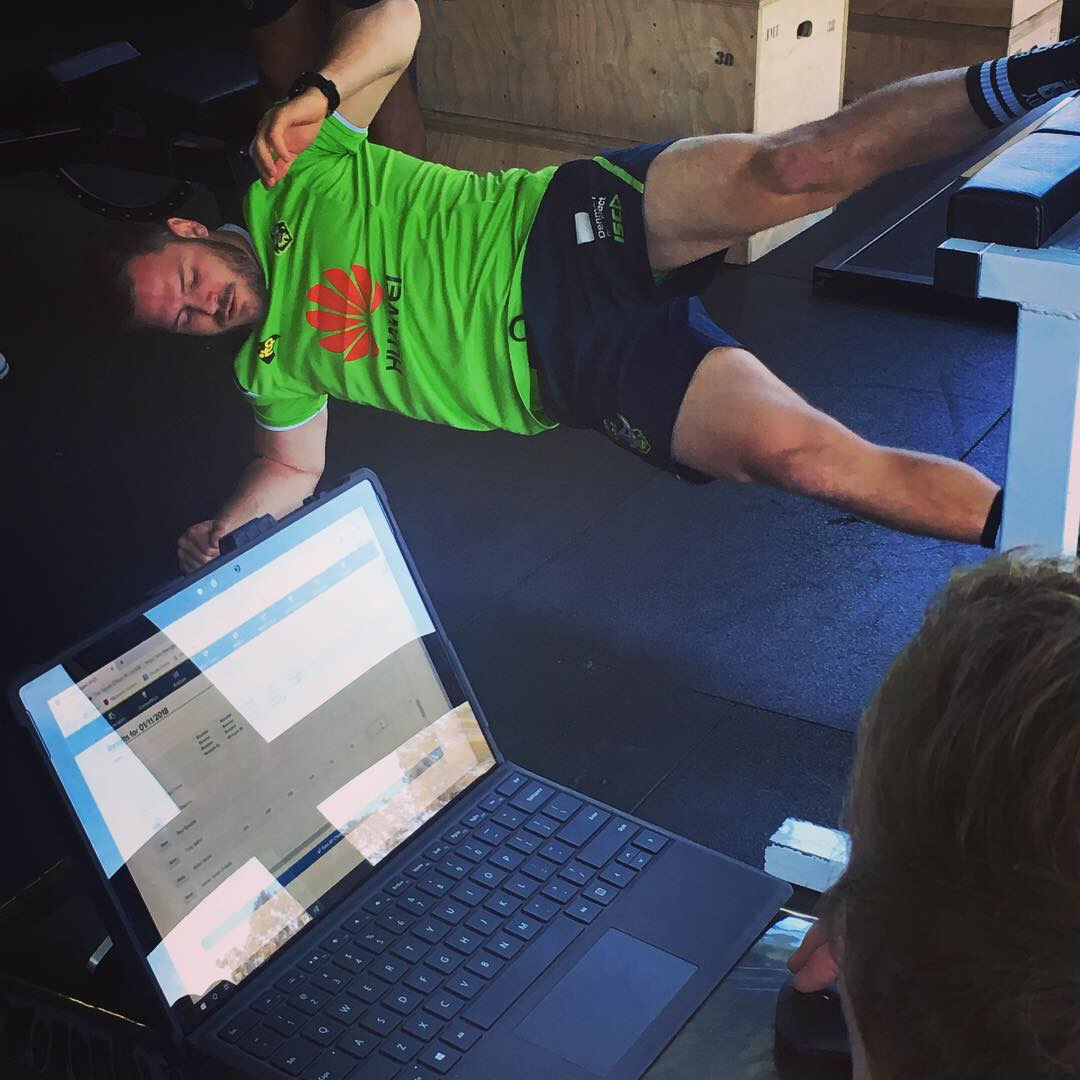 Canberra Raiders Player completing Fitness Test