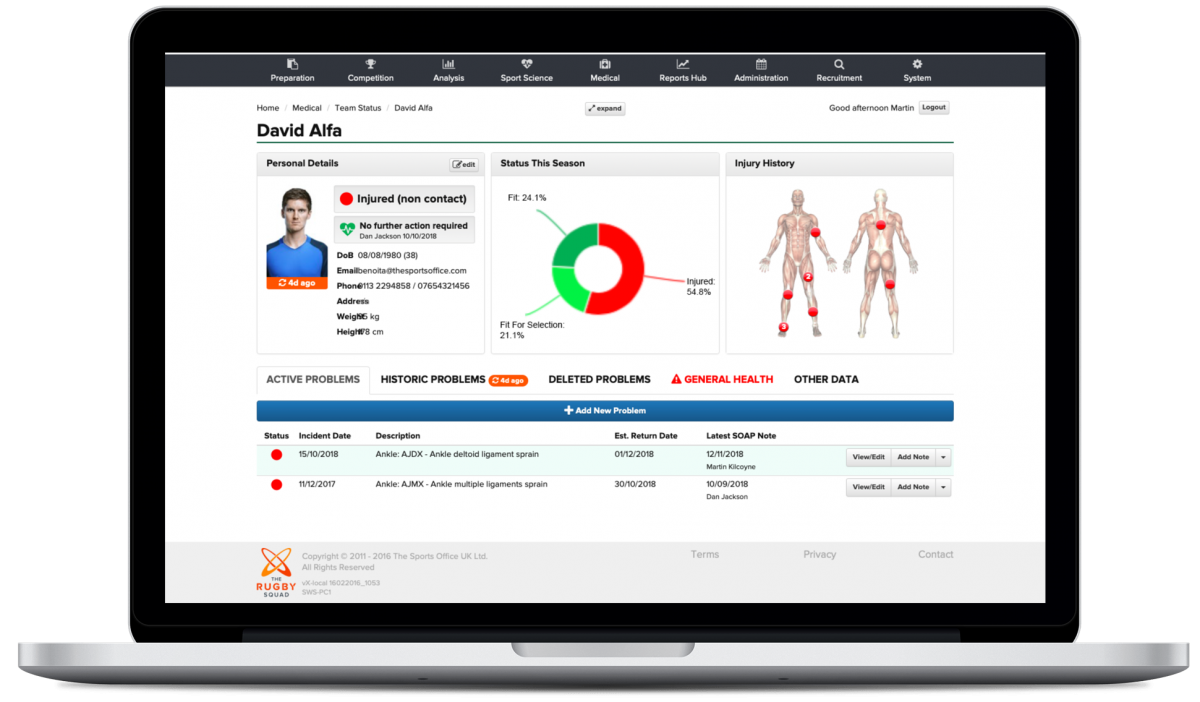 The new medical dashboard from The Sports Office