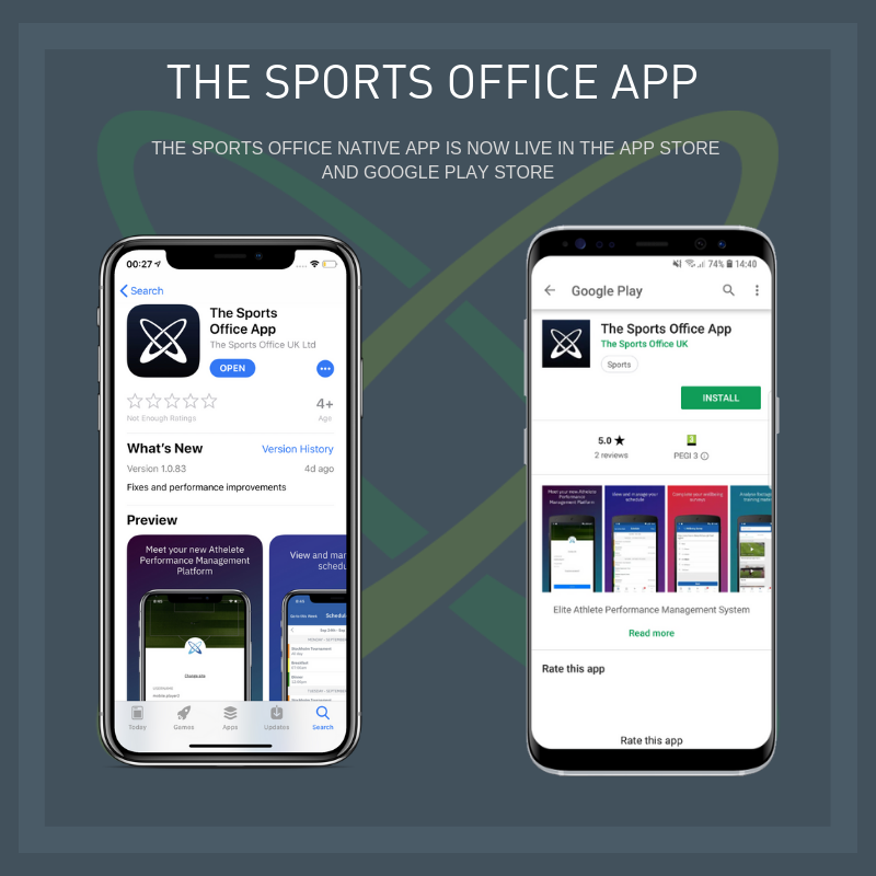 The Sports Office A.P.P. in App Store and Google Play Store