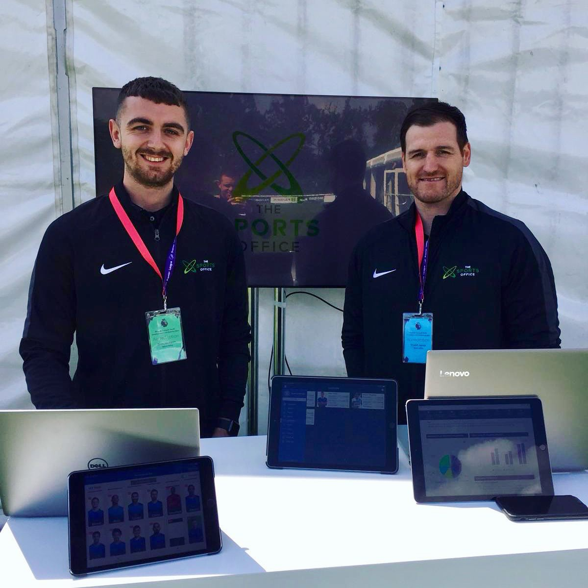 Client Manager's Dan & Stu at Premier League Youth Development Conference showing The Sports Office Systems & Apps